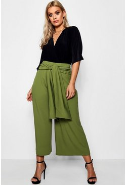Womens Olive Plus Tie Waist Culottes