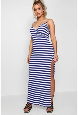 Plus Maya Wrap Front Stripe Maxi Dress, Navy, MUJER