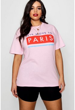 Womens Baby pink Plus Let's Move to Paris Tee
