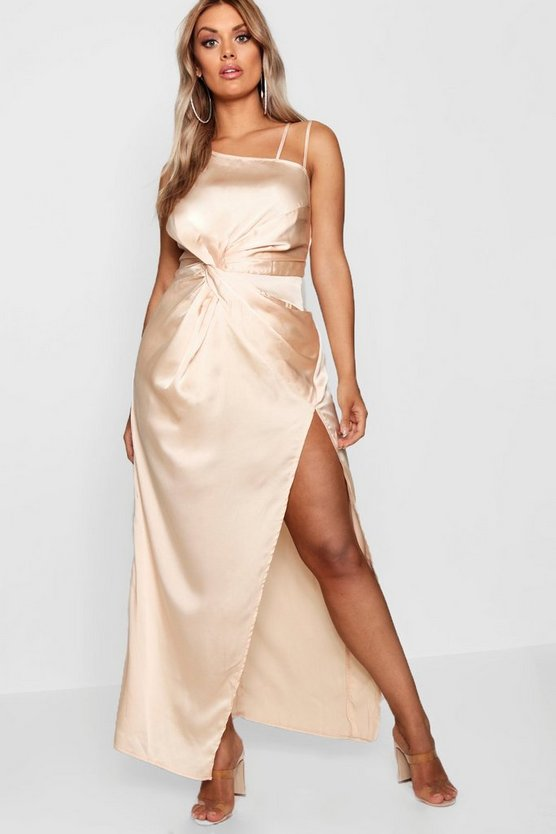 Plus Satin Knot Front Maxi Dress