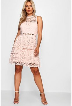 Plus  Lace Tiered Skater Dress, Blush