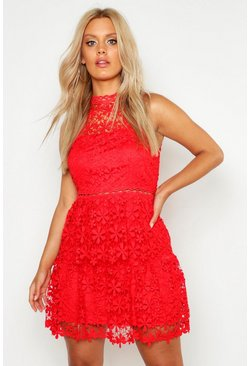 Womens Red Plus  Lace Tiered Skater Dress