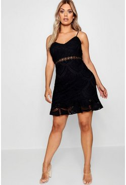 Plus Lace Peplum Mini Dress, Black