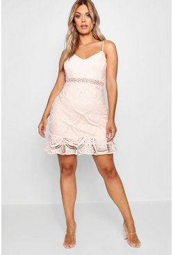 Womens Blush Plus Lace Peplum Mini Dress