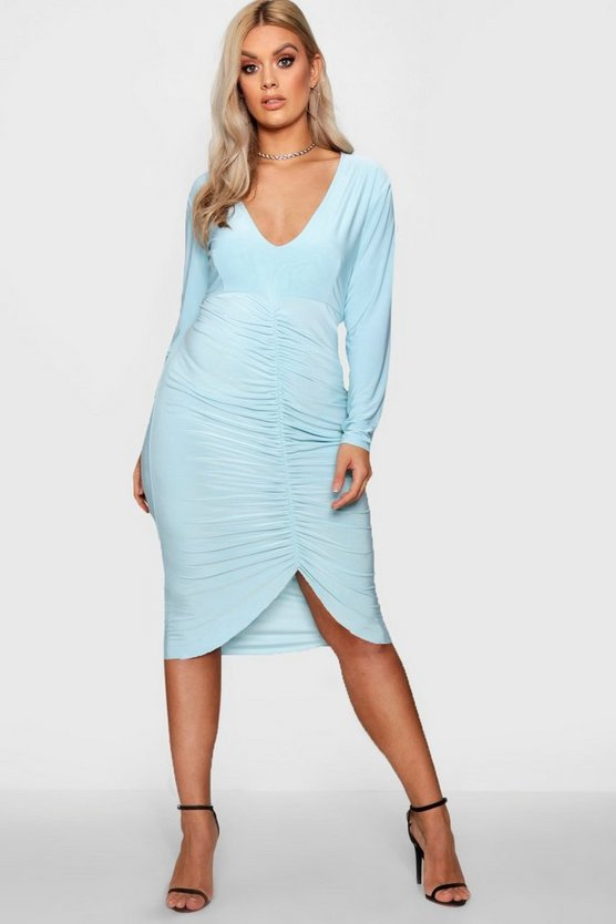 Plus Slinky Plunge Ruched Midi Dress