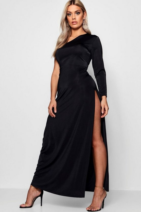 Plus  One Shoulder Hip Split Maxi Dress