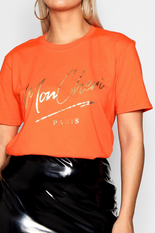 Shirt T Foil Mon Cheri Print orange Plus t1qEP
