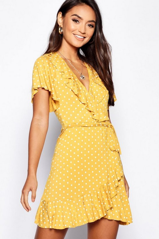 Womens Mustard Petite Polka Dot Ruffle Wrap Tea Dress