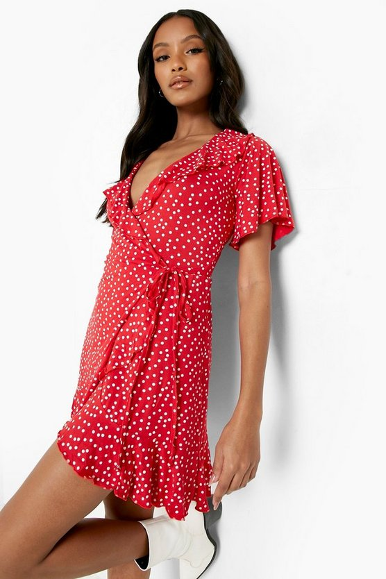 Red Petite Polka Dot Ruffle Wrap Tea Dress