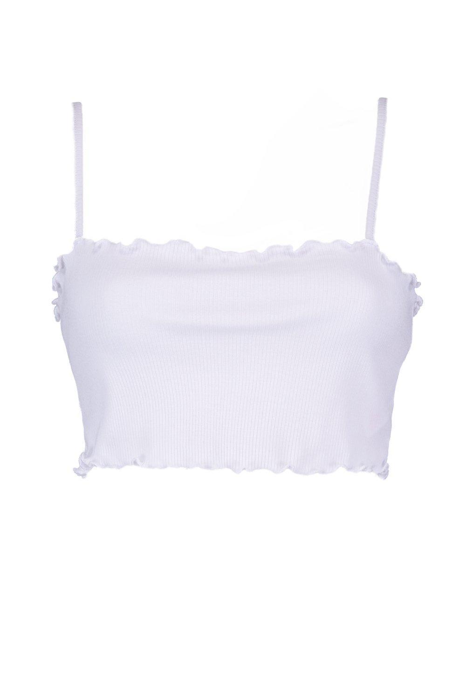 y bajo canalé cuadrado corto ondulado Top con Petite en blanco escote FYqw0E