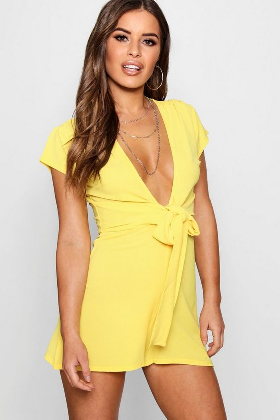 Womens Yellow Petite Twist Front Plain Woven Playsuit