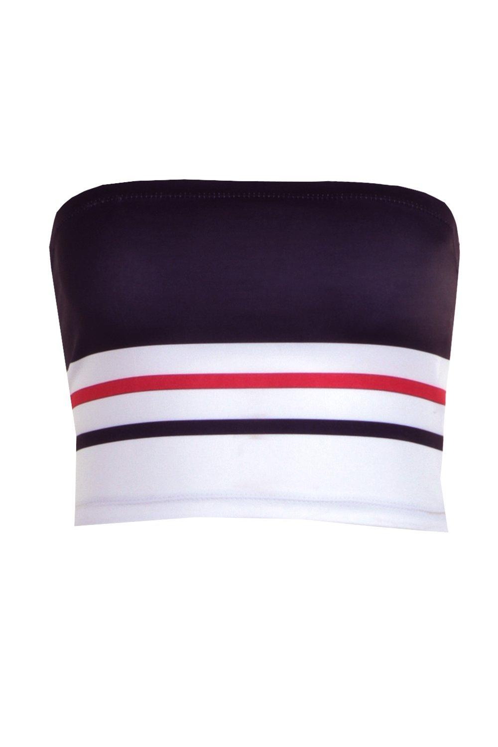 NEW-Boohoo-Womens-Petite-Stripe-Jersey-Bandeau-in-Polyester