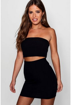Womens Black Petite Bandeau Mini Bandage Skirt Co-Ord