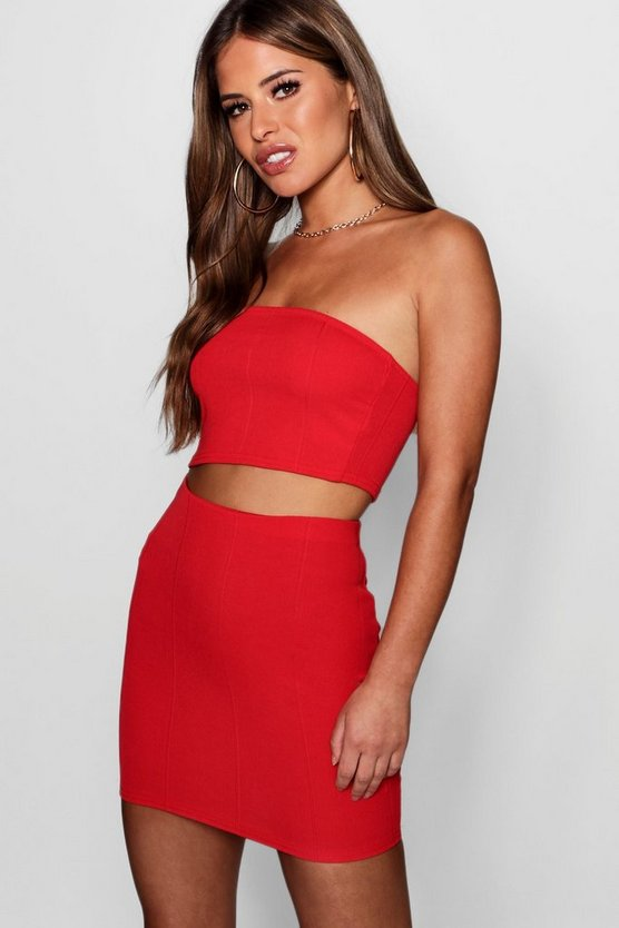 Womens Red Petite Bandeau Mini Bandage Skirt Co-Ord