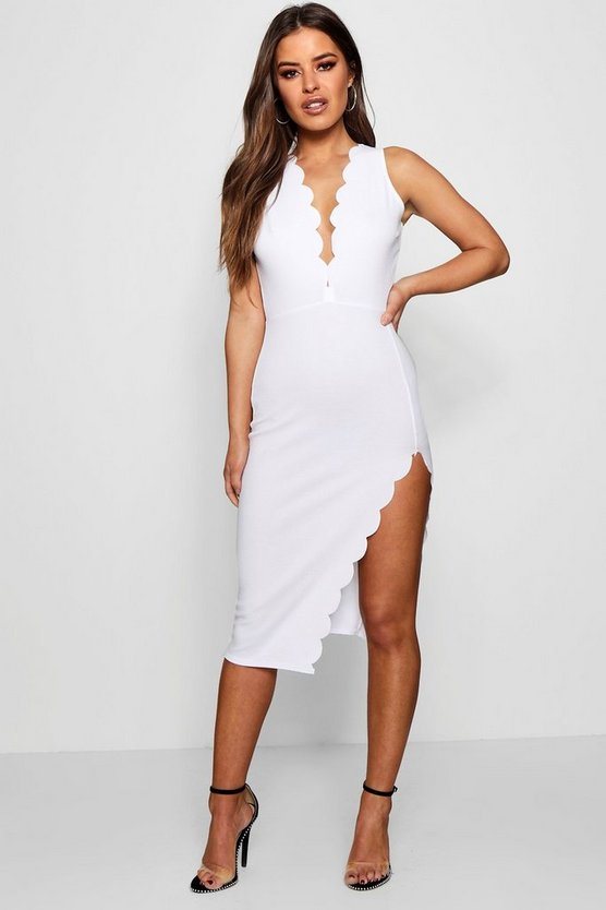 Petite Scallop Edge Split Midi Dress