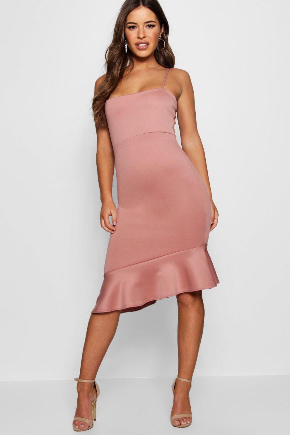 089768fd74 Petite Square Neck Asymmetric Pep Hem Midi Dress
