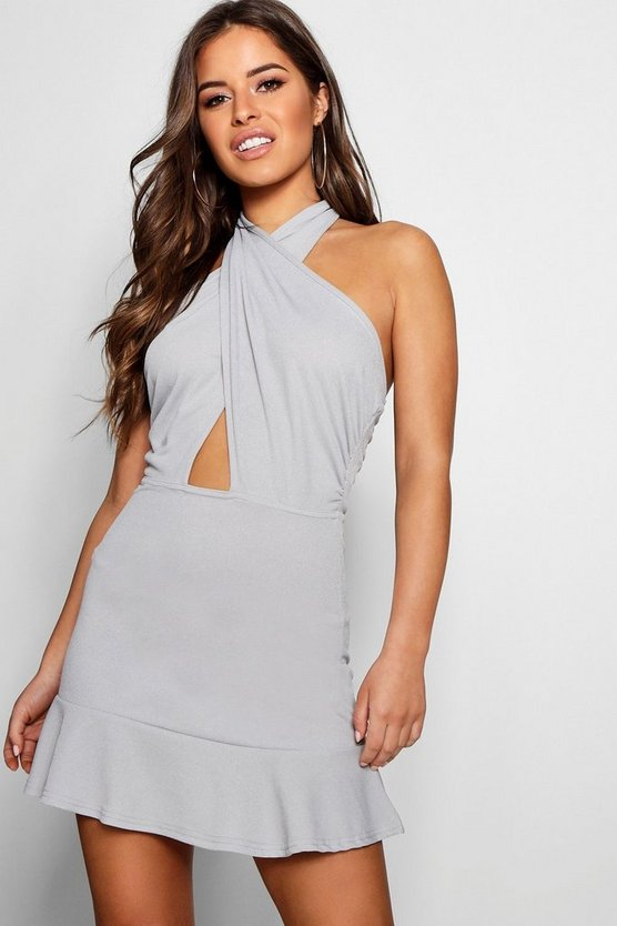 Womens Grey Petite Cross Front Backless Halter Neck Dress