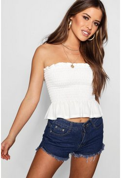 Womens White Petite  Shirred Bandeau Pep Hem Top