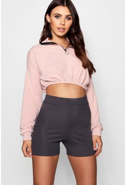 Womens Dusty rose Petite Zip Front Crop Sweater