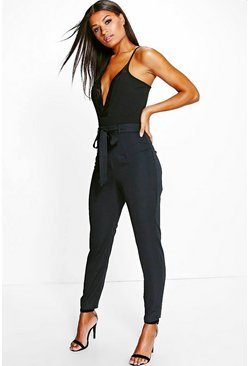 Womens Black Petite Tie Waist Woven Satin Slimline Pants
