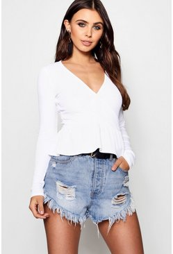 Womens White Petite  Rib Wrap Pep Hem Top