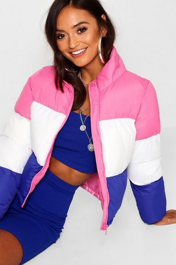 Womens Pink Petite Colour Block Padded Coat