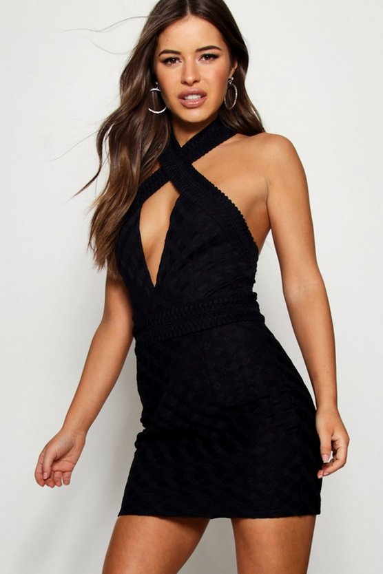 Petite Halter Neck Corded Lace Bodycon Dress