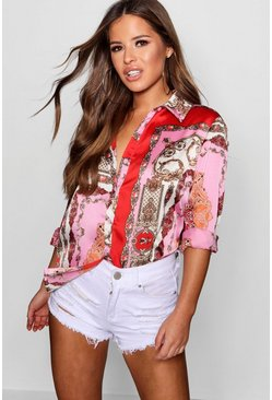 Womens Pink Petite  Printed Satin Shirt