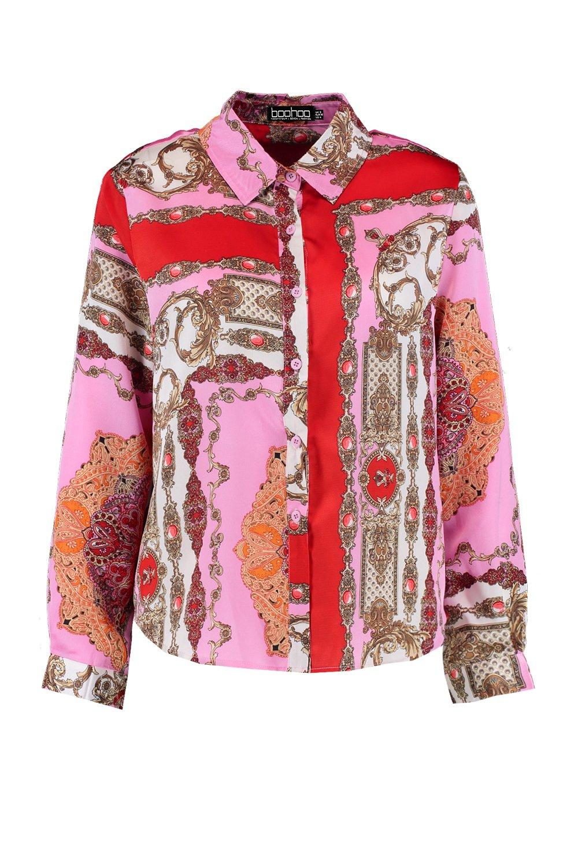 de rosa satén Camisa Petite estampada ZaHwqB