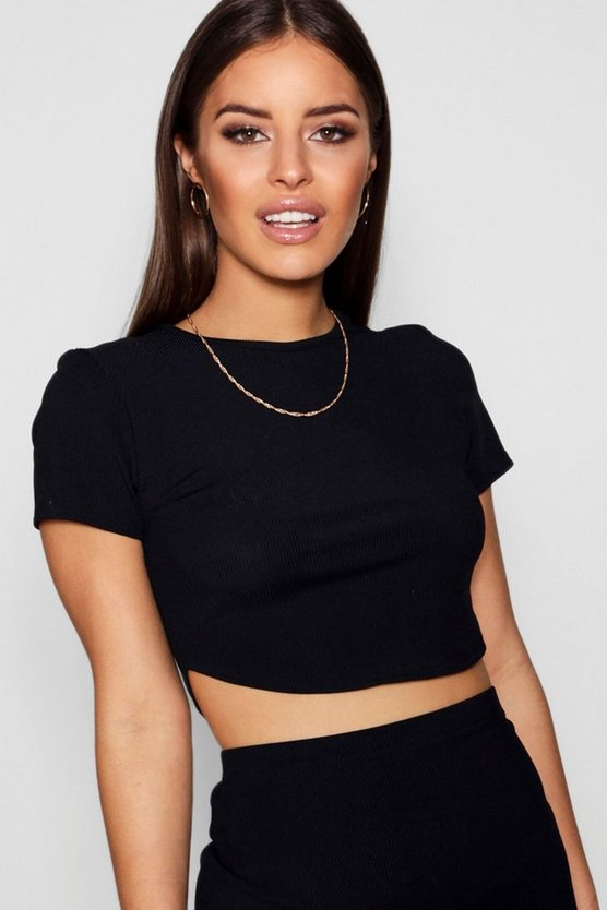 Womens Black Petite  Rib Curved Hem Short Sleeve Crop Top