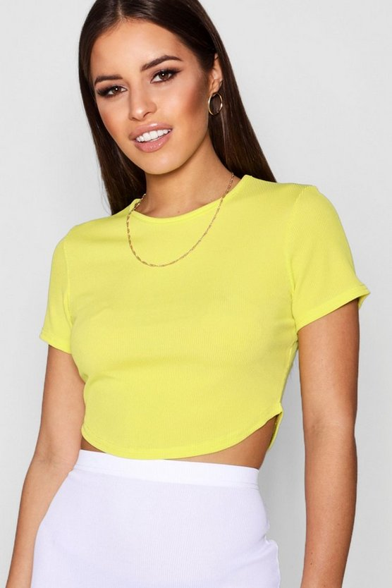 Womens Bright yellow Petite  Rib Curved Hem Short Sleeve Crop Top