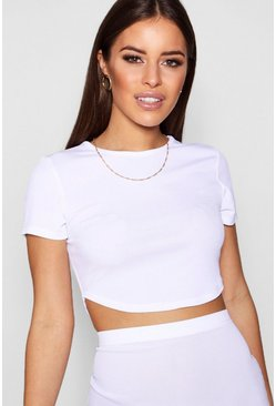 Womens White Petite  Rib Curved Hem Short Sleeve Crop Top