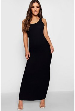 Womens Black Petite Rib Scoop Neck Maxi Dress