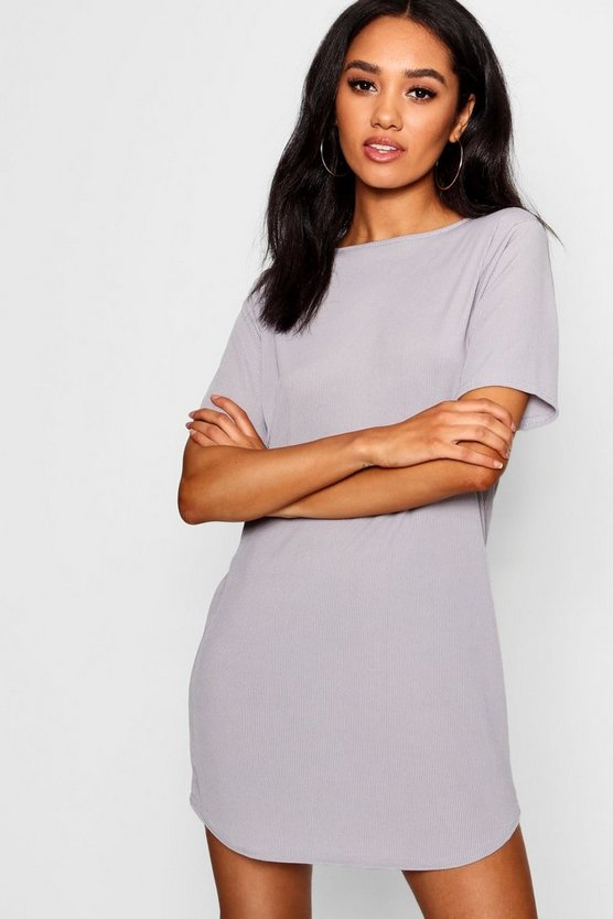 Petite Rib Curve Hem T-Shirt Dress