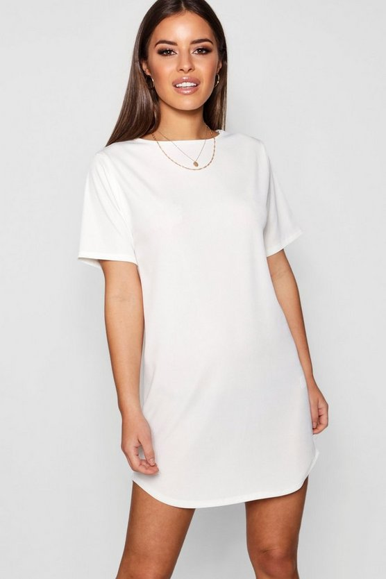 Womens White Petite Rib Curve Hem T-Shirt Dress