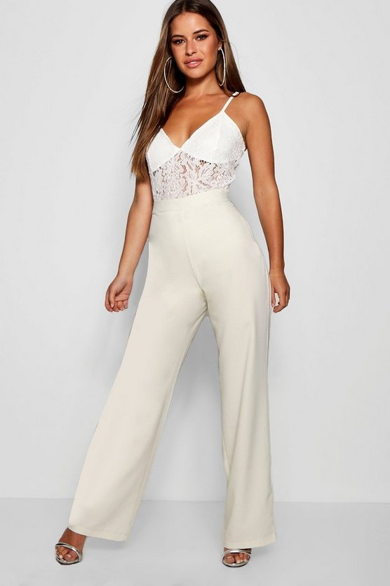 Petite Straight Leg Woven High Waisted Trouser