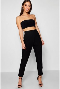Black Petite  High Waisted Woven Tapered Trouser