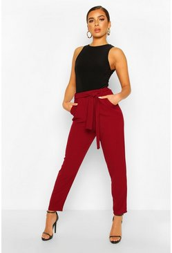 Berry Petite  Tie Waist Tapered Trouser