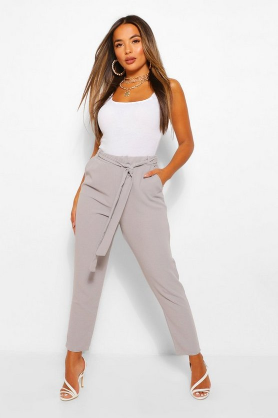 Grey Petite Tie Waist Tapered Pants