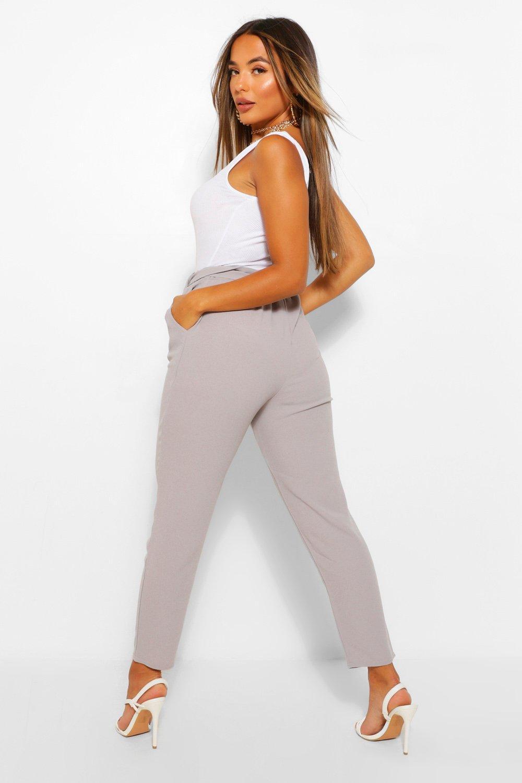 petite de cintura atados pitillo a gris Pantalones qXfSdwd