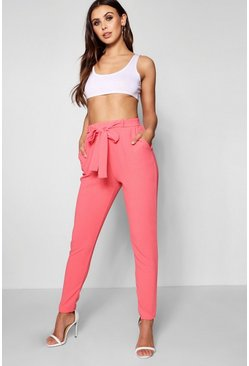 Womens Warm coral Petite Tie Waist Tapered Trouser