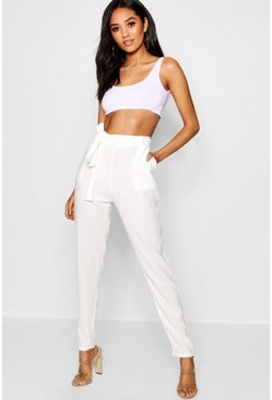 Womens White Petite Tie Waist Tapered Trouser