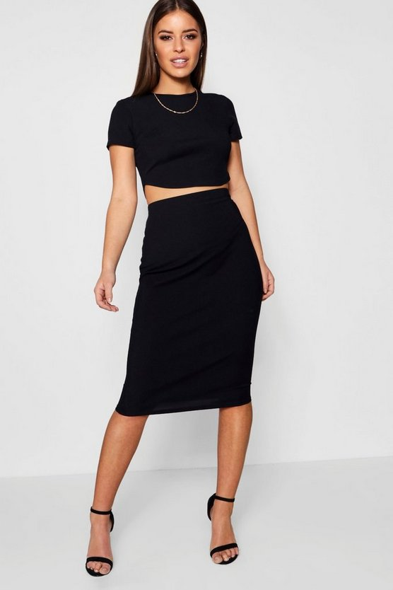 Womens Petite Basic Midi Rib Bodycon Skirt