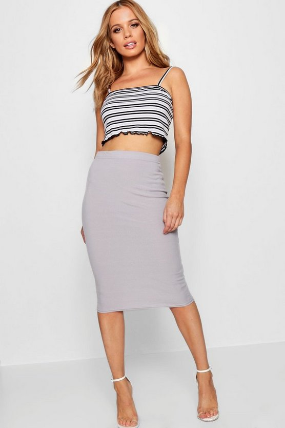 Petite Basic Midi Rib Bodycon Skirt