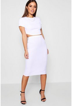 Womens White Petite Basic Midi Rib Bodycon Skirt