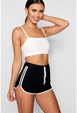 Womens Black Petite  Tie Detail Running Shorts