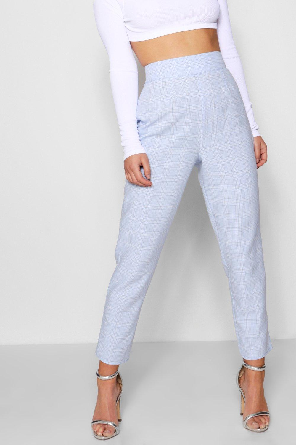 Pastel High Trousers Petite lilac Waisted Woven Check xz86qnwqv