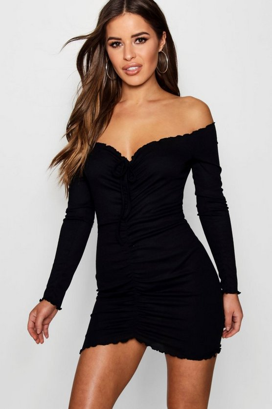Womens Black Petite Ruched Front Rib Bardot Bodycon Dress