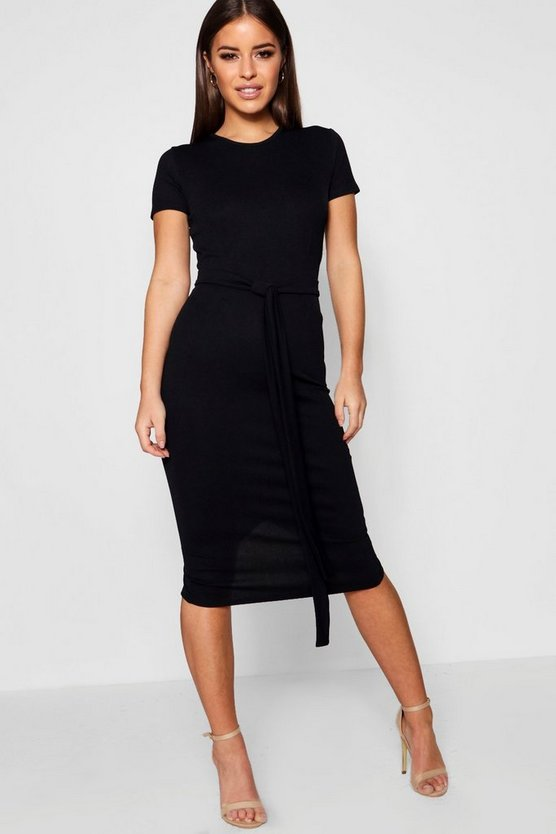 Womens Black Petite Pleat Front Belted Tailored Midi Dress