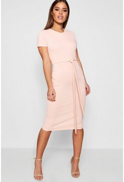 Petite Pleat Front Belted Tailored Midi Dress, Nude, Femme